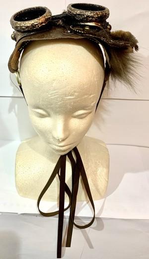 ゴーグル付きレザーヘッドドレス Steampunked hair accessory