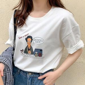【トップス】新作ゆったり韓国風プリントカジュアルTシャツ
