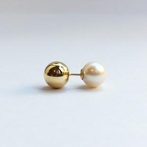 K18 8mm Gold Ball Piece with Akoya Catch