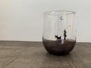 horizon シルエット グラス (オオカミandモミの木)-054-