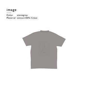 一筆描きバナナスタンドTシャツ/ストーングレー