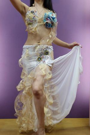 エジプト製ベリーダンス衣装 白&ゴールド S