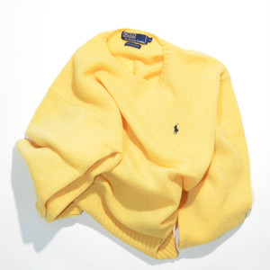 Used☆ POLO Ralph Lauren 丸首 LAMBSWOOL セーター(黄色)