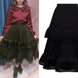 【TWISTXTURN】ダブルフリル×フリンジスカート
