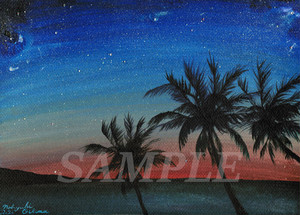 オリジナル絵画(アクリル画)「Sunset Beach(2020)」デジタルデータ【イラスト素材/海・ビーチ・サンセット・椰子の木・夕日・夕焼け・夕暮れ・サーフィン・アート】