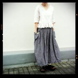 [受注製作]ふんわりボックスプリーツスカート(ブルーグレイ)