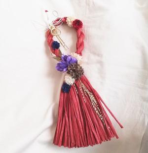 しめ飾り タッセル*RED 鶴