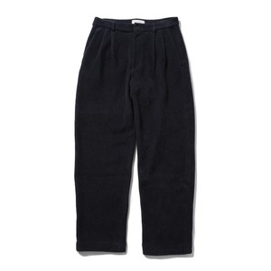 YOKE KNIT CORDUROY 2TUCK WIDE PANTS(NAVY)