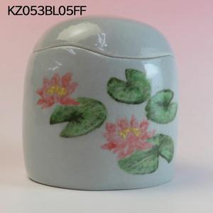 【アウトレット】陶器製ミニ骨壷あんのん(KZ053BL05FF)蓮