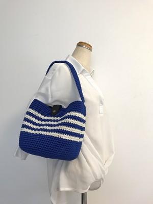 手編みバッグ ワンショルダー トート 丸形 青 ブルー 白