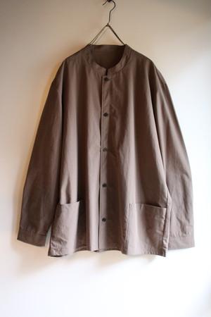 THE HINOKI パラシュートクロスのスタンドアップカラーシャツ Brown #18W-12