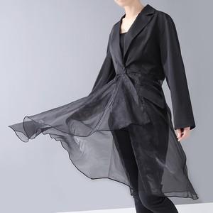 モード系 シャツ シャツワンピ アシンメトリー レイヤー レース 透け感 大人きれいめ  フェミニン 20代 30代