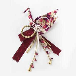 織り鶴カチューシャ 【格子柄 紫色】