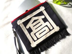-Taka- B5サイズレトロ前掛けポーチ クラッチバッグ/タブレットケース/タブレットポーチ/前掛けバッグ