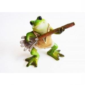 カエルオブジェ ポタジェの蛙 熊手持ち kms-1611