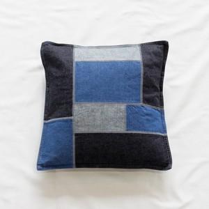 Denim Patchwork Cushion Cover (INDIGO)