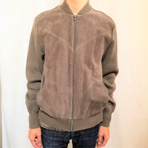 St Michael  Knit×Suede blouson /Made In the U.K. [G-385]