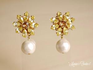 Flower Pearls (yellow)【14kgfピアス・イヤリング】