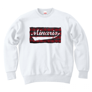 minario / TARTAN CHECK LOGO CREWNECK SWEAT WHITE