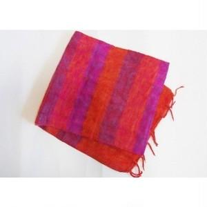 マフラー ヒマラヤからの贈り物 ボーダーオレンジ/ピンク