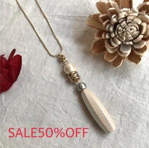【SALE50%OFF】Loato ロアトゥ アクセサリー 2colorコットンパールのロングネックレス made in japan【ハンドメイド】