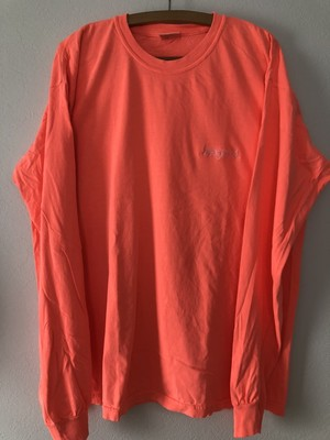 BEYOND Embroidery L/S Tee - Neon Red Orange×White
