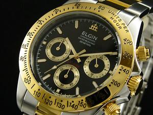 エルジン ELGIN クロノグラフ 腕時計 FK1059TG-B ブラック