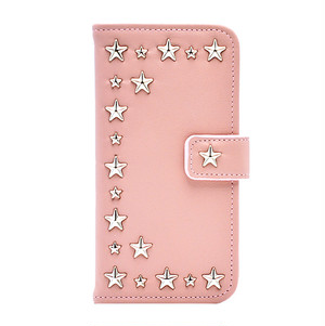 ENLA BY ENCHANTED.LA NOTEBOOKTYPE LEATHER STARS CASE BEIGE PINK MARIANNE