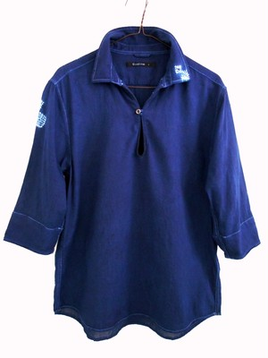 ◆100%自然素材 天然灰汁発酵建て 本藍染◆ 縫い絞りトップス  ~新ブランド『美ひめ Mihime』~