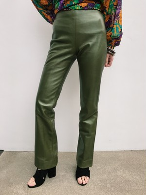 Vintage khaki leather pants ( ヴィンテージ 玉虫色 カーキ レザー パンツ )