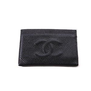 CHANEL/シャネル キャビアスキンココマークパスケース ブラック(R13401)