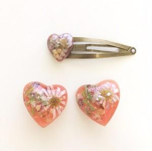 mellow / umber heart earing (pink)