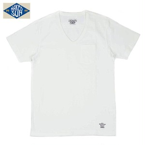 NS003006 USA COTTON V NECK Tee / WHITE