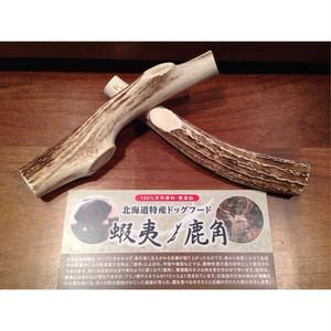 蝦夷 鹿の角ロングタイプ2本セット アウトレット(北海道特産 犬用おやつ エゾシカの角ペットフード 輪切りタイプ)