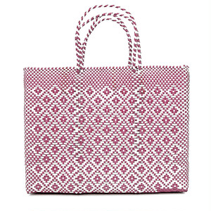 MERCADO BAG ROMBO METALIC - Metalic Pink x White(L)