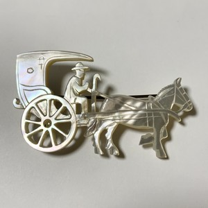 1940's  Vintage  Mother Of Pearl Horse & Carriage Openwork Brooch