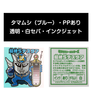 サンプル#055:タマムシ(透明ブルー)/PP/インクジェット/白セパ