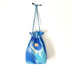 手染めの帆布きんちゃくバッグ / palette-blue