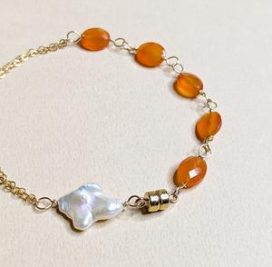 2 WAY Carnelian & Baroque Pearl bracelet | MIHO meets RUKUS