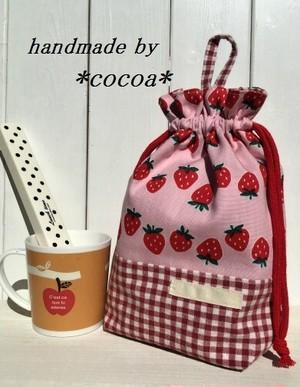 給食袋マチあり  ピンクいちご柄×赤ギンガムチェック