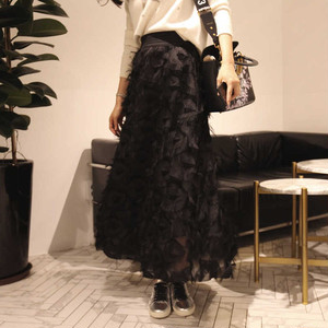 ソリッド・カラーフェアリースカート(black)