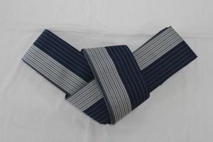 西村織物 角帯 麻絹 ブルー×シルバー