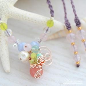 花の妖精(ピンク)マクラメ編みネックレス