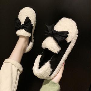 【シューズ】切り替えキュート暖かいローファー24677463