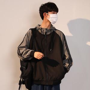 【アウター】春秋ファッション配色切り替えフート付き合わせやすいメンズジャケット24737152