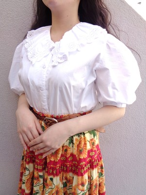 Puff sleeve white blouse /パフスリーブホワイトブラウス