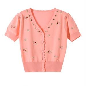 3色 feminine 小花刺繍カーディガン c3567