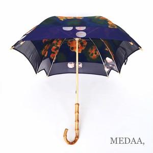 着物地の日傘 四角 角欠け 紺色 縮緬花柄 紗 織り模様  反物から