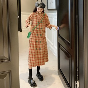 【ワンピース】新作ファッション レッドダブルブレスト スリムレトロワンピース