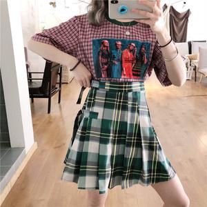 【セットアップ】【単品注文】ファッションルーズTシャツ/ハイウエストチェック柄スカート2点セット20519912